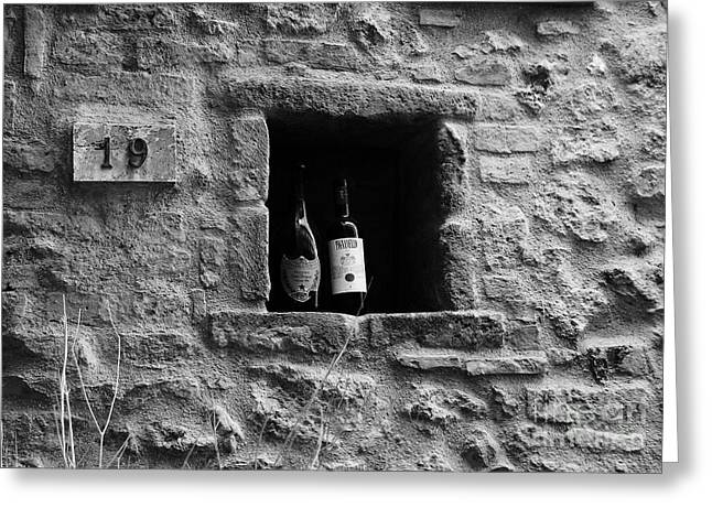 Wine Scene Greeting Cards - Number 19 BW Greeting Card by Mel Steinhauer