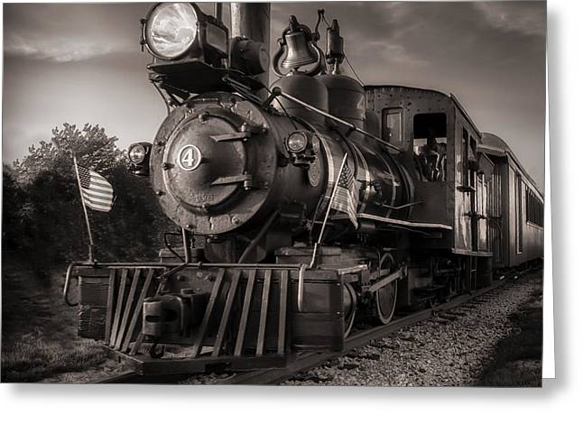 Number 4 Narrow Gauge Railroad Greeting Card by Bob Orsillo