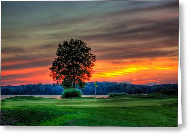 Golf Hole Greeting Cards - Number 4 The Landing Greeting Card by Reid Callaway