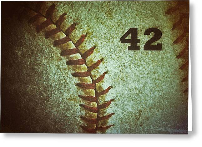 Jackie Robinson Greeting Cards - Number 42 Greeting Card by Bill Owen