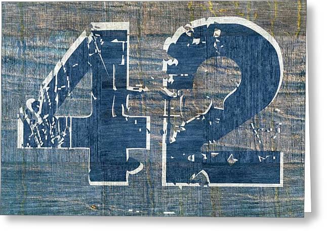 Baseball Art Greeting Cards - Number 42 Greeting Card by Michelle Calkins