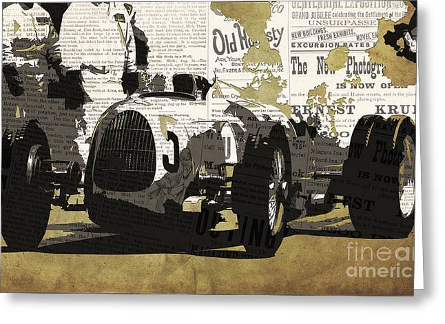 Newspaper Collage Greeting Cards - Number 5 race car to pits Greeting Card by Pablo Franchi