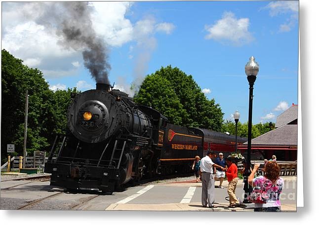 Classic American Railroad Greeting Cards - Number 734 at Frostburg Station Greeting Card by James Brunker