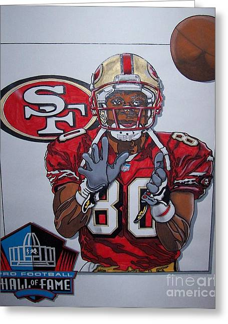 Jerry Rice Greeting Cards - Number 80 Greeting Card by Jerry Foxworth