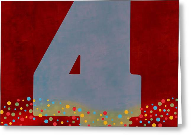 Numeral Greeting Cards - Number Four Flotation Device Greeting Card by Carol Leigh