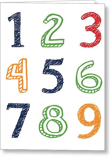 Bridal Shower Greeting Cards - Numbers 123 Greeting Card by Jaime Friedman