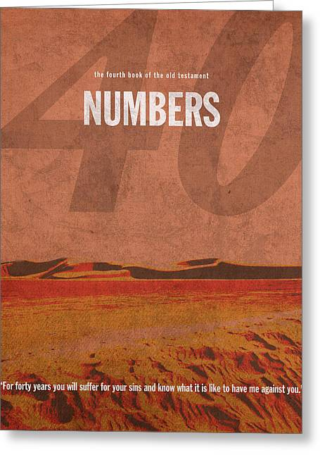 Bible Greeting Cards - Numbers Books of the Bible Series Old Testament Minimal Poster Art Number 4 Greeting Card by Design Turnpike