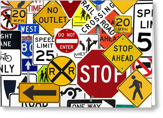Best Sellers -  - Traffic Control Greeting Cards - Numerous Traffic Control Signs On White Greeting Card by Russell Shively