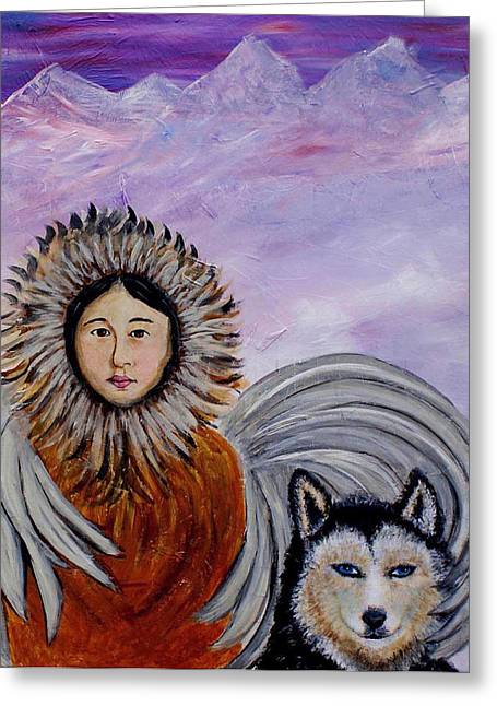 Original Paining Greeting Cards - Nunataqu and Nanook Earth Angels From Alaska Greeting Card by The Art With A Heart By Charlotte Phillips
