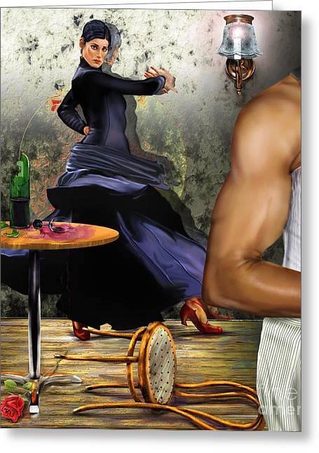 African-american Paintings Greeting Cards - Nunca hemos bailado una cancion de amor Greeting Card by Reggie Duffie
