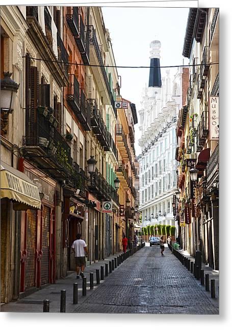 Nunez De Arce Street In Madrid Greeting Card by RicardMN Photography
