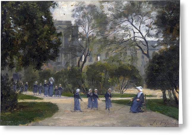 The Tuileries Gardens Greeting Cards - Nuns and Schoolgirls in the Tuileries Gardens Paris Greeting Card by Stanislas Lepine