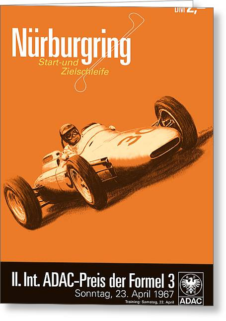 Three Speed Greeting Cards - Nurburgring F3 Grand Prix 1967 Greeting Card by Nomad Art And  Design