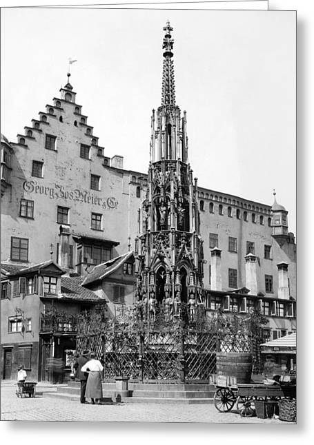 Nuremberg Beautiful Fountain Greeting Card by Underwood Archives