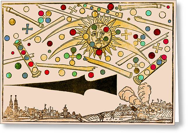 Color Enhanced Greeting Cards - Nuremberg Ufo 1561 Greeting Card by Science Source