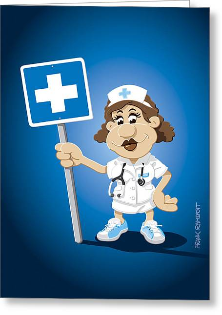 Nurse Cartoon Woman Hospital Sign Greeting Card by Frank Ramspott
