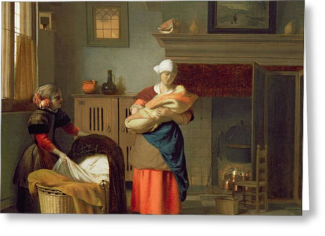 Fireplace Greeting Cards - Nursemaid With Baby In An Interior And A Young Girl Preparing The Cradle Greeting Card by Pieter de Hooch
