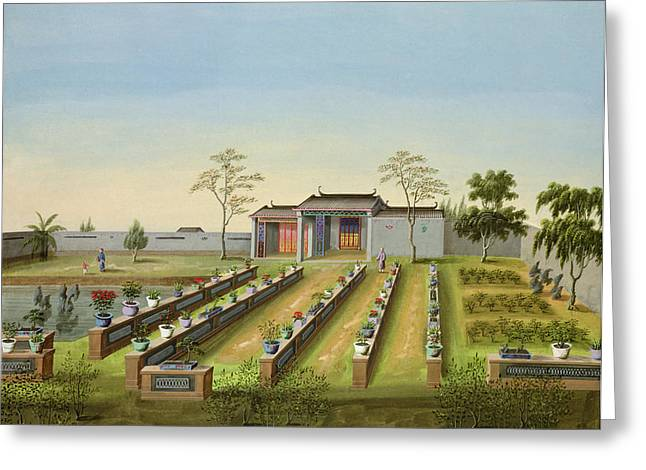 Chinese Landscape Greeting Cards - Nursery Garden, C.1820-40 Greeting Card by Chinese School