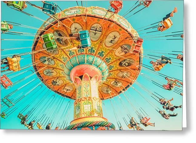 Recently Sold -  - Santa Cruz Art Greeting Cards - Yellow Carousel with Blue Sky  at Santa Cruz Beach Boardwalk Greeting Card by Lynn Langmade