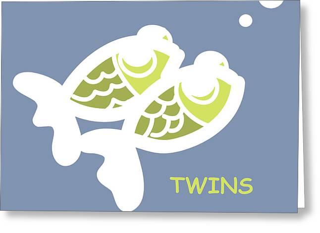 Nursery Art Greeting Cards - Nursery Wall Art for twins Greeting Card by Nursery Art