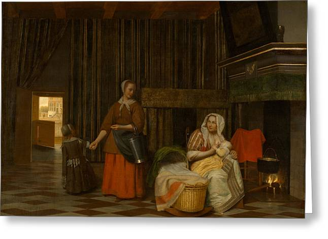 Hooch Greeting Cards - Nursing Mother and maid with child Greeting Card by Pieter de Hooch