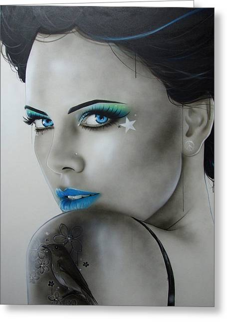 Charlize Theron - ' Nurture ' Greeting Card by Christian Chapman Art