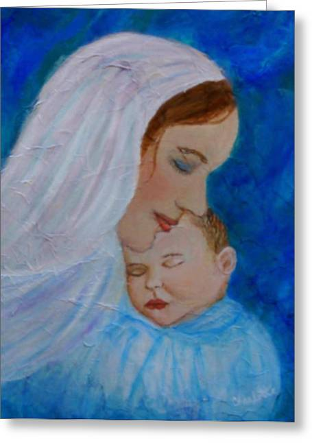Jesus With A Child Greeting Cards - Nurturing Love Of A Mother  Greeting Card by The Art With A Heart By Charlotte Phillips