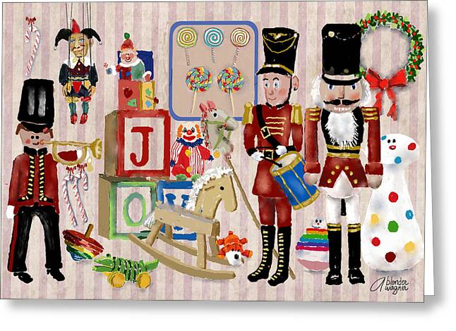 Toy Shop Greeting Cards - Nutcracker And Friends Greeting Card by Arline Wagner
