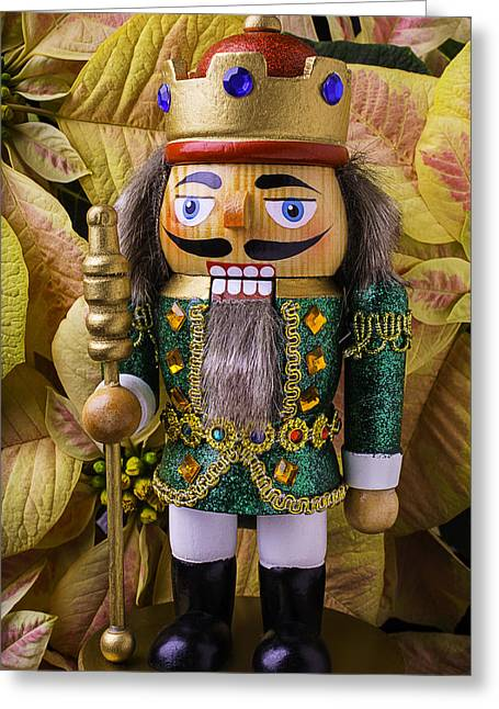Nutcrackers Greeting Cards - Nutcracker And Poinsettia Greeting Card by Garry Gay