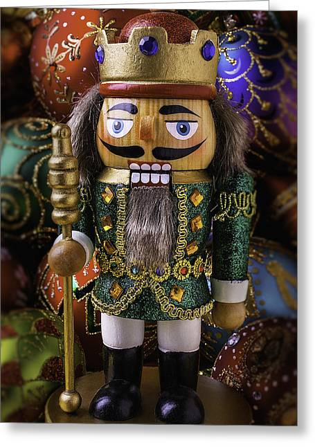 Nutcrackers Greeting Cards - Nutcracker With Ornaments Greeting Card by Garry Gay