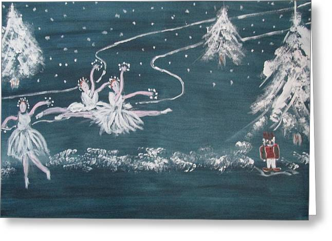Ballet Dancers Greeting Cards - Nutcrackers Dance Of The Snowflakes Greeting Card by Sharyn Winters