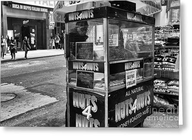 City That Never Sleeps Greeting Cards - Nuts 4 Nuts in NYC mono Greeting Card by John Rizzuto