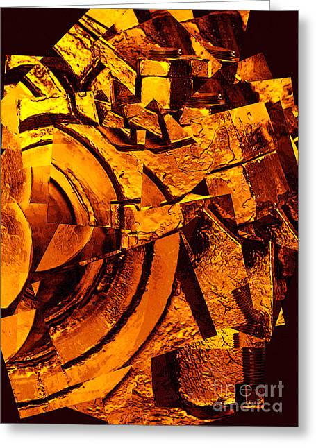 Carol Groenen Golden Greeting Cards - Nuts and Bolts Abstract Greeting Card by Carol Groenen