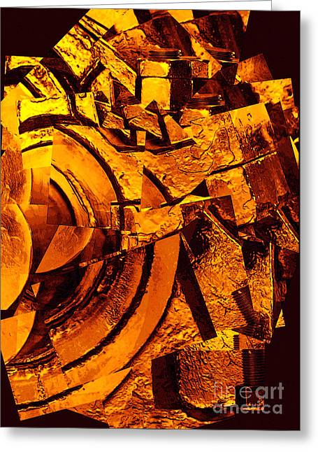 Nuts And Bolts Abstract Greeting Card by Carol Groenen