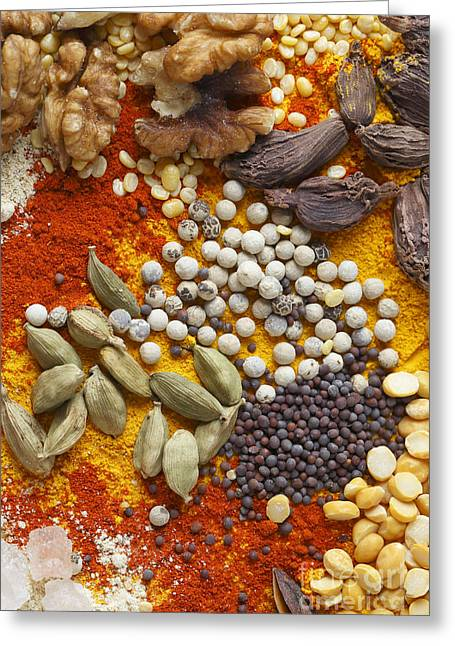 Green Beans Greeting Cards - Nuts pulses and spices Greeting Card by Paul Cowan
