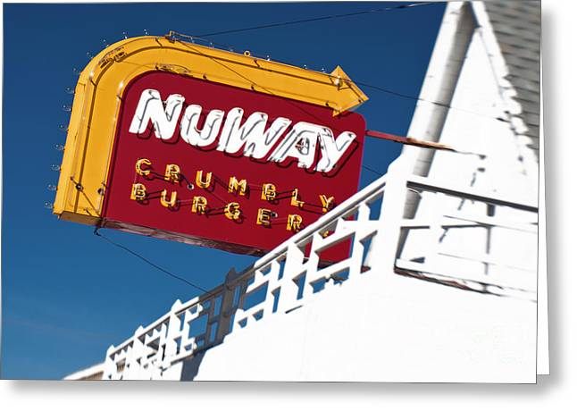 Hamburger Greeting Cards - NuWAY Sign Greeting Card by Fred Lassmann