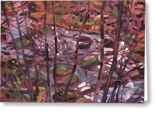Creek Paintings Greeting Cards - Nuzies Creek Greeting Card by Donald Maier