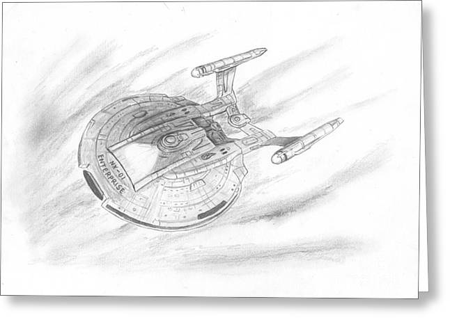 Enterprise Drawings Greeting Cards - NX-01 Enterprise Greeting Card by Michael Penny