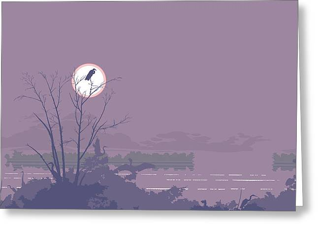 1980s Greeting Cards - Abstract Florida Everglades Tropical Birds Sunset Landscape - large Pop Art Nouveau - Panorama - 1 Greeting Card by Walt Curlee