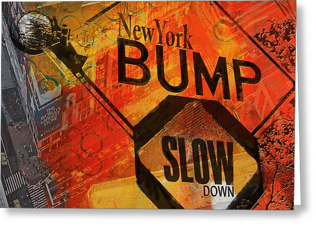 Digital Media Greeting Cards - NY - Traffic Sign Greeting Card by Corporate Art Task Force