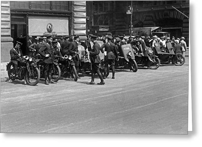 Ny Armored Motorcycle Squad  Greeting Card by Underwood Archives