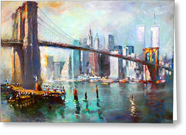 Reflections Paintings Greeting Cards - NY City Brooklyn Bridge II Greeting Card by Ylli Haruni