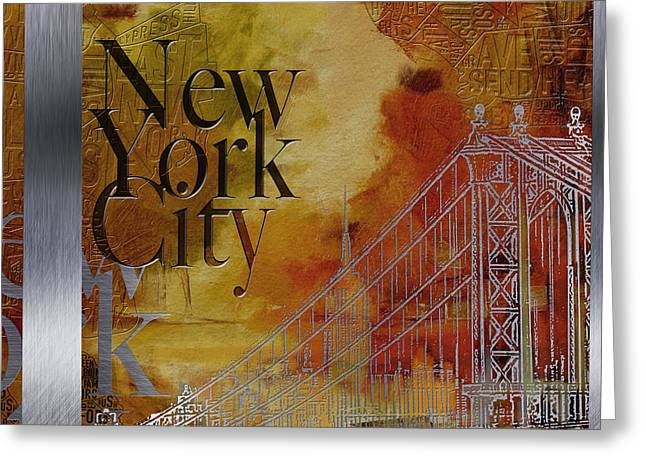Lounge Paintings Greeting Cards - NY City Collage - 6 Greeting Card by Corporate Art Task Force