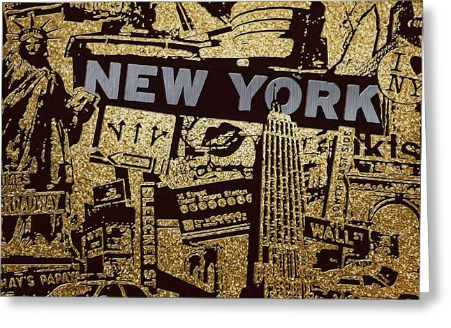Mixed Media Digital Collage Greeting Cards - NY City Collage - 9 Greeting Card by Corporate Art Task Force