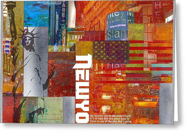 Digital Media Greeting Cards - NY City Collage 3 Greeting Card by Corporate Art Task Force