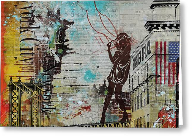 New Jersey Paintings Greeting Cards - NY City Collage 4 Greeting Card by Corporate Art Task Force