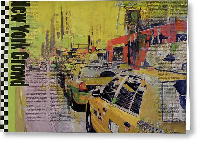 Digital Media Greeting Cards - NY City Collage Greeting Card by Corporate Art Task Force