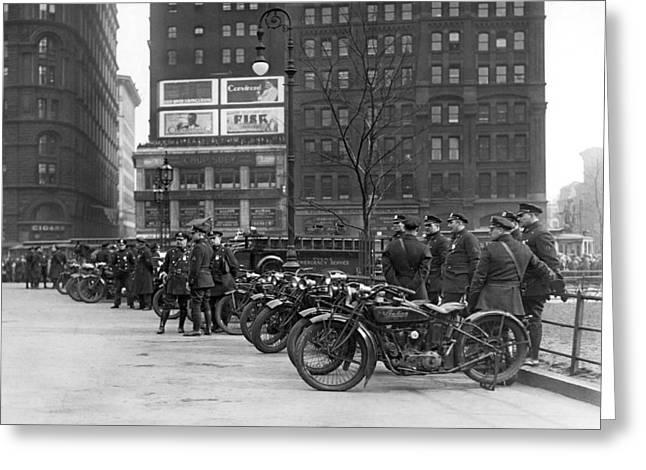 Ny Motorcycle Police Greeting Card by Underwood Archives