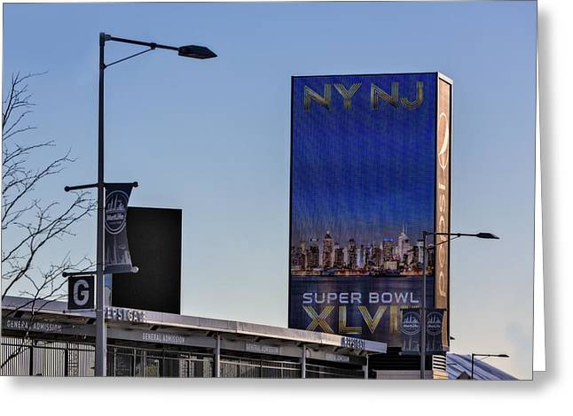 Recreation Building Greeting Cards - NY NJ Super Bowl XLVIII Greeting Card by Susan Candelario