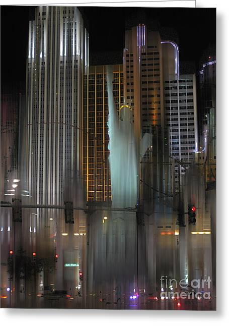 Tropicana Las Vegas Greeting Cards - NY NY Las Vegas surreal Greeting Card by Rod Jones